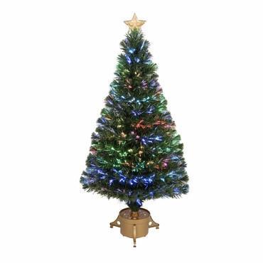 "48"" Multi-Color LED Fiber Optic Tree Top Star 175 Tips 14 Ply w/ Gold Base - WarehouseSpot"