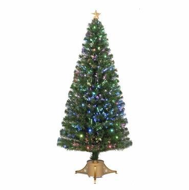 "72"" Multi-Color LED Fiber Optic Tree Top Star 265 Tips 19 Ply 65 LEDs w/ Gold Base - WarehouseSpot"