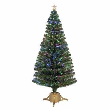"72"" Multi-Color LED Fiber Optic Tree Top Star 265 Tips 19 Ply w/ Gold Base - WarehouseSpot"