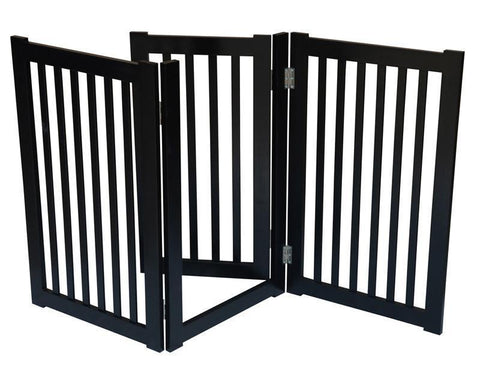 "MDOG2 MK806-600BL 3-Panel Free Standing Pet Gate 60""W x 32""H - Black - Peazz.com"