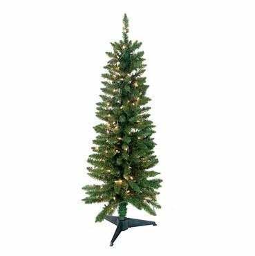 4' Pre-Lit Pencil Green Tree 168 Tips, 100 UL Lights - WarehouseSpot