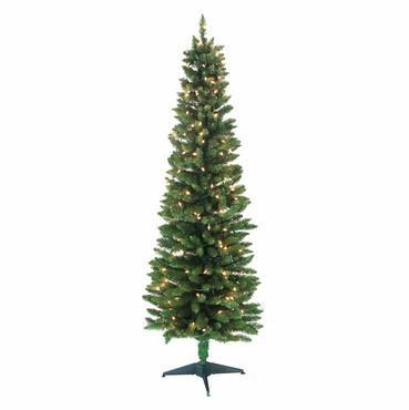 6' Pre-Lit Pencil Green Tree 320 Tips, 200 UL Lights - WarehouseSpot