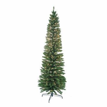 7' Pre-Lit Pencil Green Tree 400 Tips, 300 UL Lights - WarehouseSpot