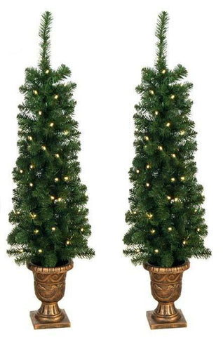 Prelit 4' Entryway Porch Tree - Set of 2 - 140 Tips, 60 UL Lights - Peazz.com
