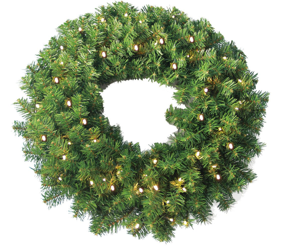 24 Pine Wreath 250 tips and 50 Concave Soft White LED lights w Battery Operated Timer Default