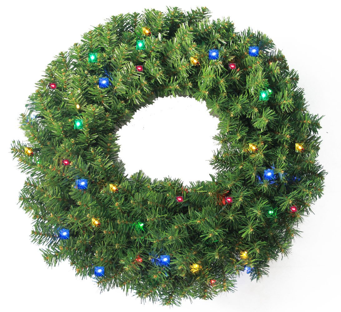 24 Pine Wreath 250 tips and 50 Concave Multi Color LED lights w Battery Operated Timer Default