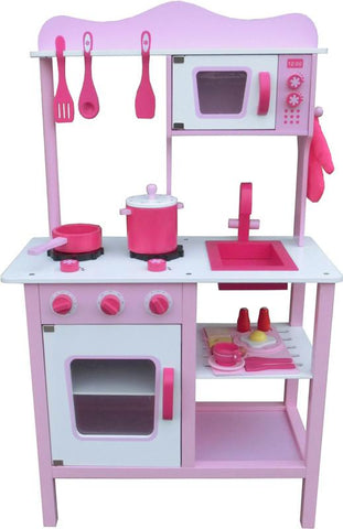 Berry Toys W10C045 My Cute Pink Wooden Play Kitchen - Peazz.com