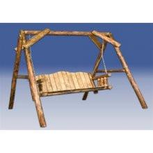 "Montana Woodworks MWGCLS Lawn Swing w/ ""A"" Frame Exterior Glacier Country Finish - Peazz.com"
