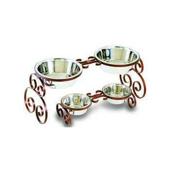 Scroll Wrought Iron Packaged Double Diner 2 Quart - Peazz.com