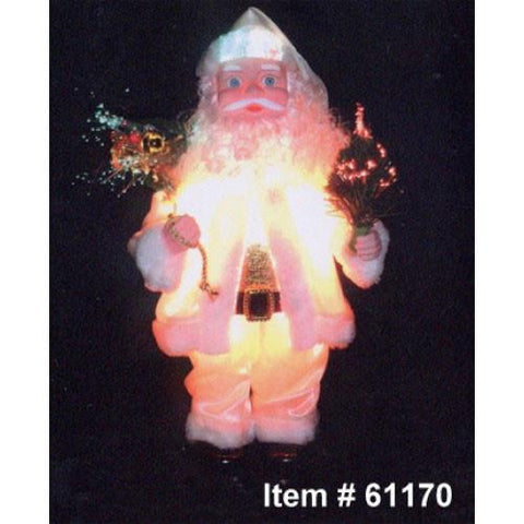 "20"" Light Up Animated Santa Christmas Figurine w/ Fiber Optic Strands - Peazz.com"
