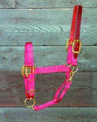 11-16 Nylon Adjustable Leather Headpole Halter - Red Large (1DALSS LGRD) - Peazz.com