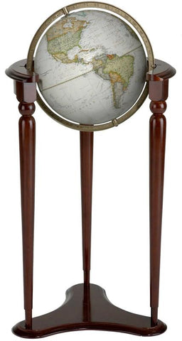 "National Geographic Globes 10 12 05S The Brent - 12"" Diameter Non-Illuminated Parchment Ocean Globe with Wood Floor Stand - Peazz.com"