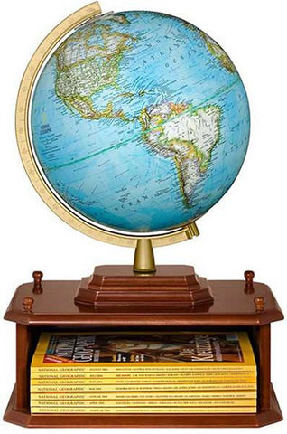 "National Geographic Globes 14 26 01S The Exploration Station - 10.5"" Diameter Non-Illuminated Blue Ocean Globe with Wood Table Top Base - Peazz.com"