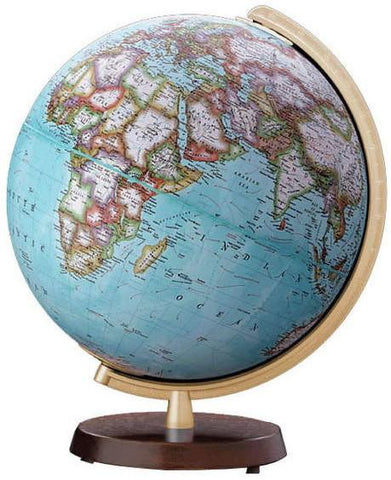 "National Geographic Globes 14 26 16S The Adventure - 10.5"" Diameter Non-Illuminated Blue Ocean Globe with Wood Table Top Base - Peazz.com"