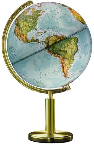 "National Geographic Globes 14 30 76S The Quest - 12"" Diameter Illuminated Blue OceanGlobe with High Column Brass Finish Base - Peazz.com"