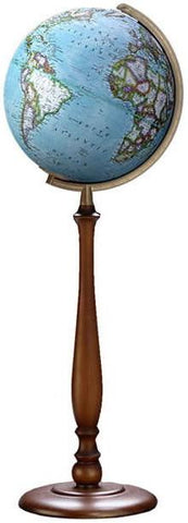 "National Geographic Globes 14 30 78S The Expedition - 12"" Diameter Non-Illuminated Blue Ocean Globe with Wood Floor Stand - Peazz.com"