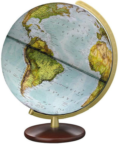 "National Geographic Globes 14 34 16S The Explorer - 14"" Diameter Illuminated Blue Ocean Globe with Wood Table Top Stand - Peazz.com"