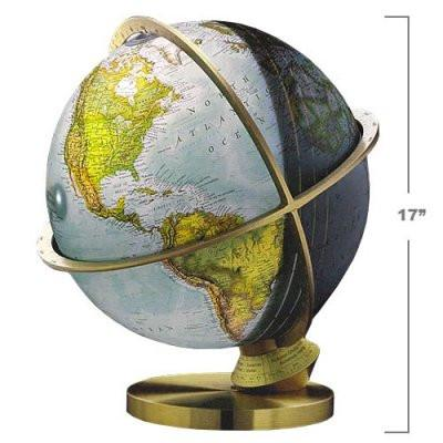 "National Geographic Globes 14 34 72S The Planet Earth - 14"" Diameter Illuminated Blue Ocean Day/Night Globe - Peazz.com"