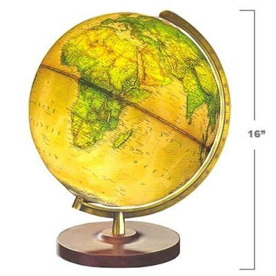 "National Geographic Globes 15 34 53S The Voyage - 14"" Diameter Illuminated Brown Ocean Globe with Wood Table Top Stand - Peazz.com"