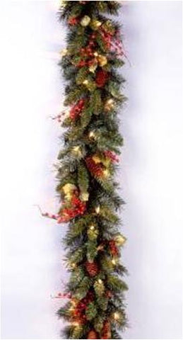 "National Tree CC1-301-9A 9' x10"" Classical Collection Garland with Red Berries, Cones, Holly Leaves and 50 Clear Lights - Peazz.com"