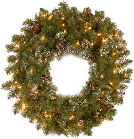 "National Tree CRY10-300-30W 30"" Crystal Pine Wreath with 100 Clear Lights - Peazz.com"