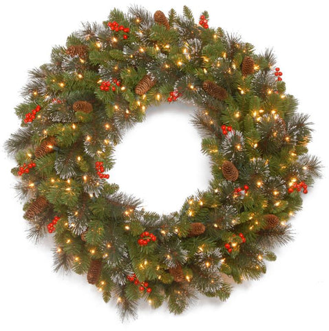"National Tree CW7-309L-30W-B 30"" Crestwood Spruce Wreath with Silver Bristle, 12 Cones, 12 Red Berries, Glitter and Battery Operated LED Lights with Timer - Peazz.com"