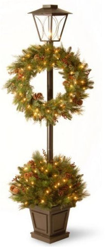 "National Tree DC13-103L-78 78"" Decorative Collection Lantern Potted Bush with 24"" Wreath and Red Berries, Cones and 100 Clear Lights - Peazz.com"