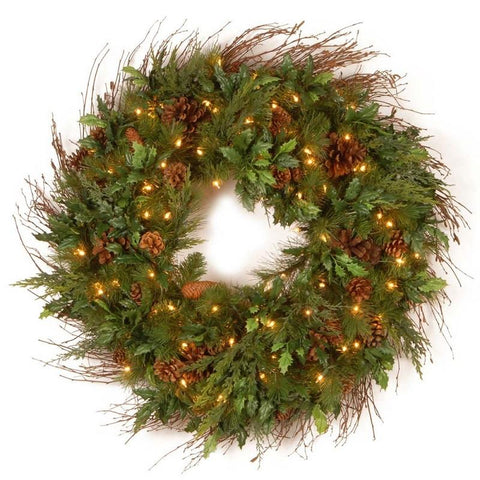 "National Tree DC13-113L-30W-1 30"" Decorative Collection Juniper Mix Pine Wreath with 100 Clear Lights - Peazz.com"