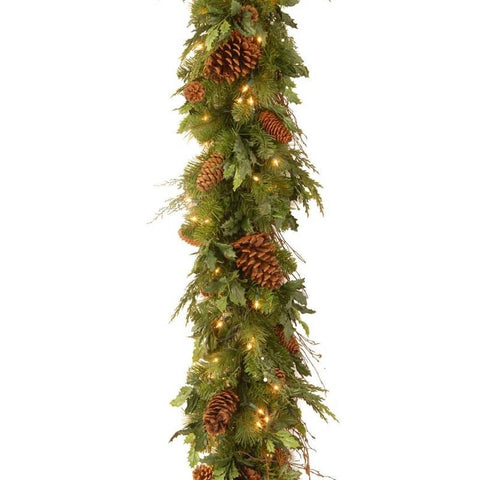 "National Tree DC13-113L-6B-1 6' x 12"" Decorative Collection Juniper Mix Pine Garland with 100 Clear Lightsq - Peazz.com"