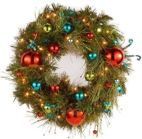 "National Tree DC13-141-24WB-1 24"" Decorative Collection Retro Wreath with 50 Soft White Battery Operated LEDs with Timer - Peazz.com"