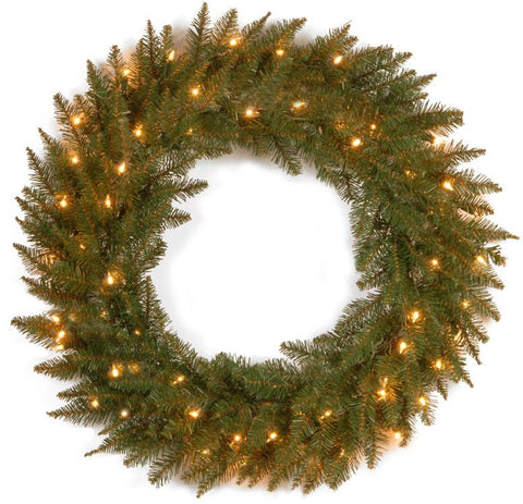 "National Tree DU-30WLO 30"" Dunhill Fir Wreath with 50 Clear Lights - Peazz.com"