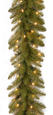 "National Tree DU-9ALO 9' x 10"" Dunhill Fir Garland with 100 Clear Lights-packed 1/6 - Peazz.com"