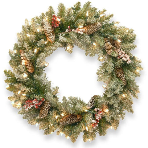 "National Tree DUF-300-30W 30"" Dunhill Fir Wreath with Snow, Red Berries, Cones and 50 Clear Lights - Peazz.com"