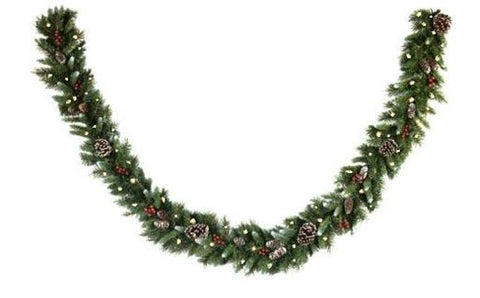 "National Tree FRB-9GLO 9' x 10"" Frosted Berry Garland with 100 Clear Lights-UL - Peazz.com"