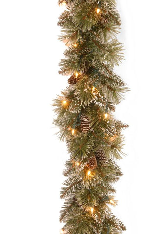 "National Tree GB3-300-9A 9' x 10"" Glittery Bristle Pine Garland with White Tipped Cones and 50 Clear Lights - Peazz.com"