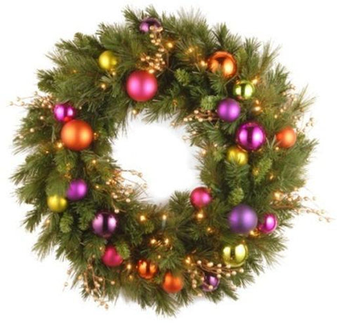 "National Tree KS13-300L-30WB 30"" Kaleidoscope Wreath with 70 Soft White LED Battery Operated Lights - Peazz.com"