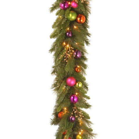 "National Tree KS13-300L-6B-1 6' x 16"" Kaleidoscope Garland with 50 Soft white LED Battery Operated Lights - Peazz.com"