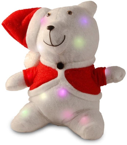"National Tree MZCB-305-13-B1 13"" Cotton Red Bear with 13 Flashing LED Lights with Battery - Peazz.com"