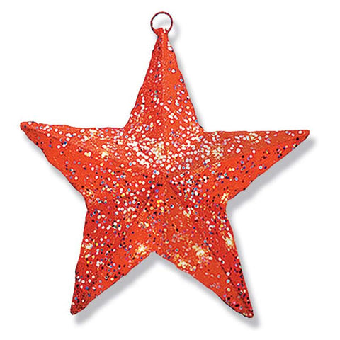 "National Tree MZST-306-14-1 14"" Red Sisal Star-Solid Center with 10 Clear Lights- UL-Indoor/Outdoor Lights - Peazz.com"