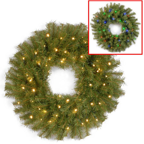 "National Tree NF-304D-24WB 24"" Norwood Fir Wreath with 50 Battery Operated Dual LED Lights - Peazz.com"