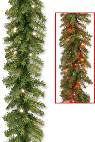 "National Tree NF-304D-9AB 9' x 10"" Norwood Fir Garland with 50 Battery Operated Dual  LED Lights-Reshippable Brown Box - Peazz.com"