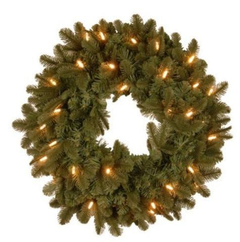 "National Tree PENX13-300L-24B 24"" ""Feel-Real"" Noble Deluxe Fir Wreath with 30 Soft White LED Battery Operated Lights - Peazz.com"