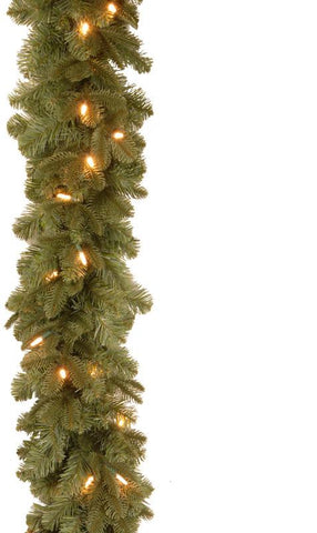 "National Tree PENX13-300L-6B1 6' ""Feel-Real"" Noble Deluxe Fir Garland with 30 Soft White LED Battery Operated Lights - Peazz.com"