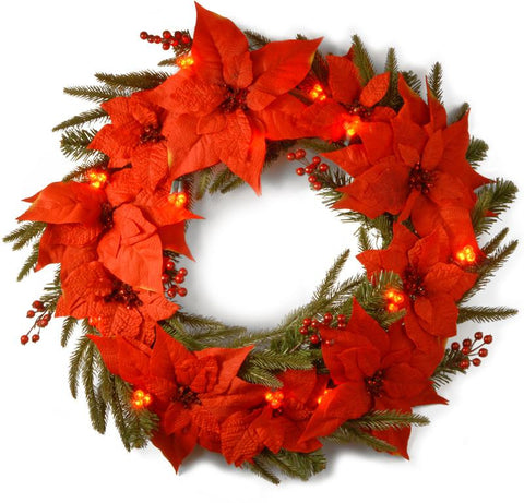 "National Tree PT13-302L-24WB1 24"" Poinsettia Wreath with 36 Red Cluster LED Battery Operated Lights - Peazz.com"