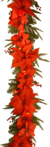 National Tree PT13-302L-6B-1 6' Poinsettia Garland with 36 Red Clusters LED Battery Operated Lights - Peazz.com