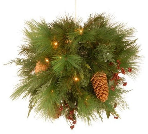 "National Tree WHP13-300L-20B 20"" White Pine Kissing Ball with 30 Soft White LED Battery Operated Lights - Peazz.com"