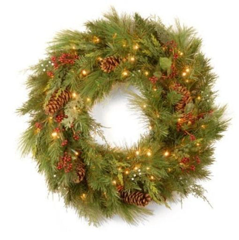 "National Tree WHP13-300L-30WB 30"" White Pine Wreath with Pine Cones and 100 Soft White LED Battery Operated Lights - Peazz.com"