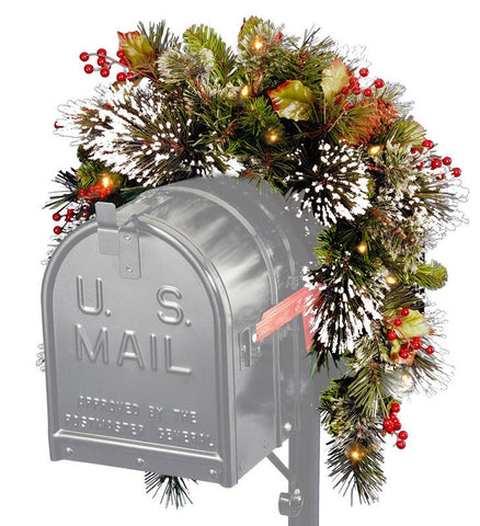 National Tree WP1-300-3MB 3' Wintry Pine Collection Mailbox Swag with Red Berries, Cones & Snowflakes with 15 Battery Operated Soft White LED Lights - Peazz.com