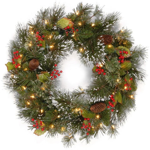 "National Tree WP1-300LV-24W-B 24"" Wintry Pine Wreath with Cones, Red Berries, Snowflakes with 50 Battery Operated soft White LED Lights - Peazz.com"