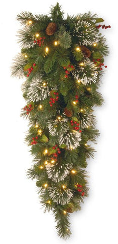National Tree WP1-338-4TDB 4' Wintry Pine Tear Drop Swag with Cones, Red Berries, Snowflakes and50 Battery Operated Soft White LED Lights - Peazz.com